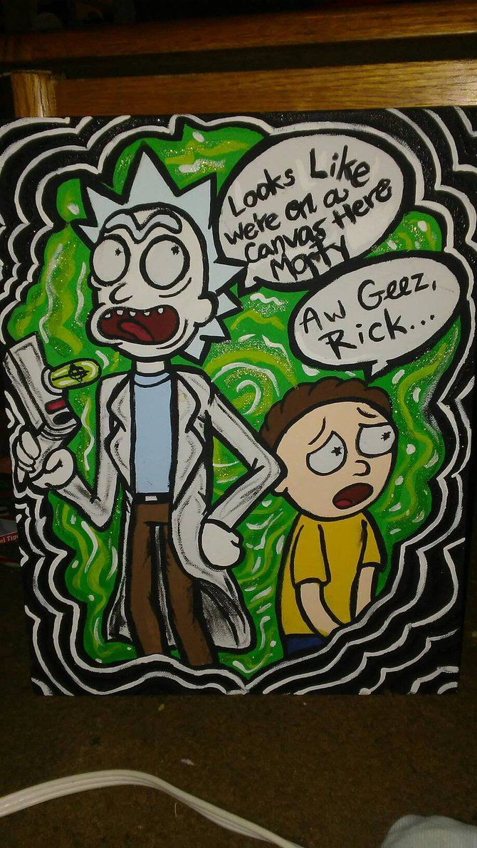 Rick and morty painting by kitsunex3designs