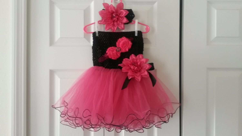 Hot Pink And Black Tutu Dress With Matching Headband Flower Girl