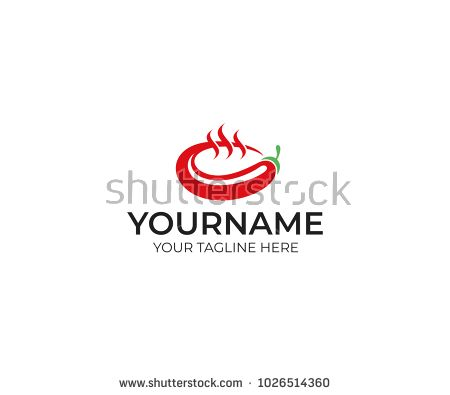 Chili pepper and a bowl of soup logo template. Vegetarian spicy food ...