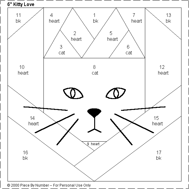 Quilting Template Paper : Kitty Love Heart Free Paper Piecing Quilt Block Pattern quilts Pinterest Free paper, Paper ...