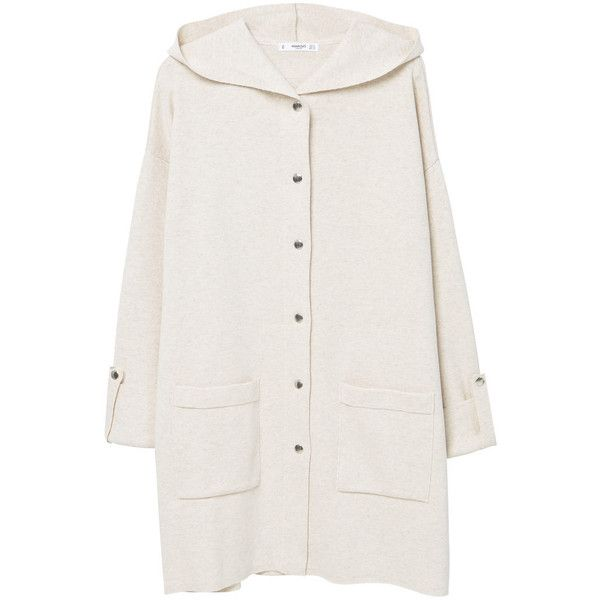 Cotton-Blend Hooded Raincoat (850.075 IDR) ❤ liked on Polyvore featuring long sleeve cotton tops, long length tops, hooded top, cardigan top and mango tops