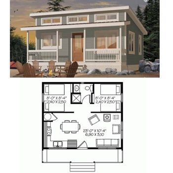 love this tiny house and its just large enough for financing and no loft - Micro House Plans
