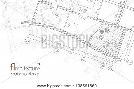 Architectural vector background Gray building plan silhouette and