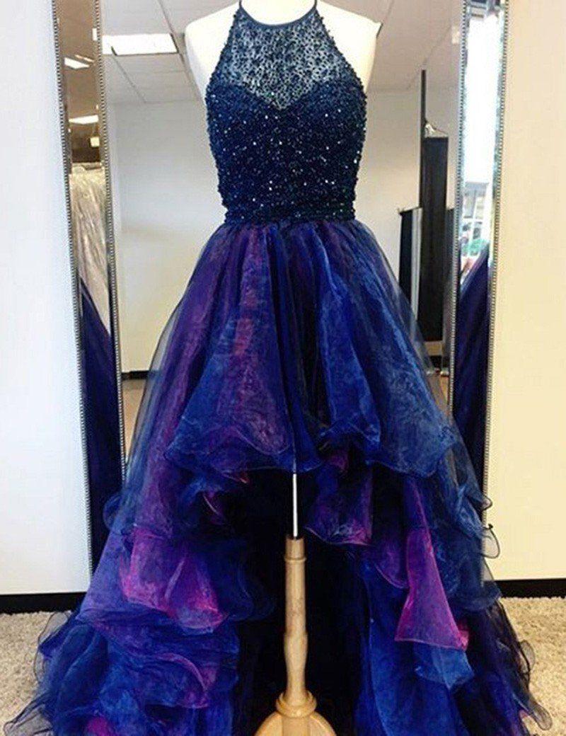 01643dfb377a Sexy Chic Prom Dresses Halter Asymmetrical Long Prom Dress/Evening Dress  JKL061