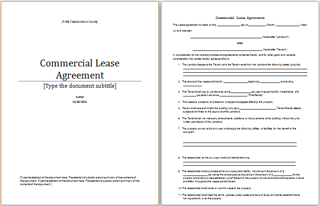 Commercial Lease Template Word Idealstalist