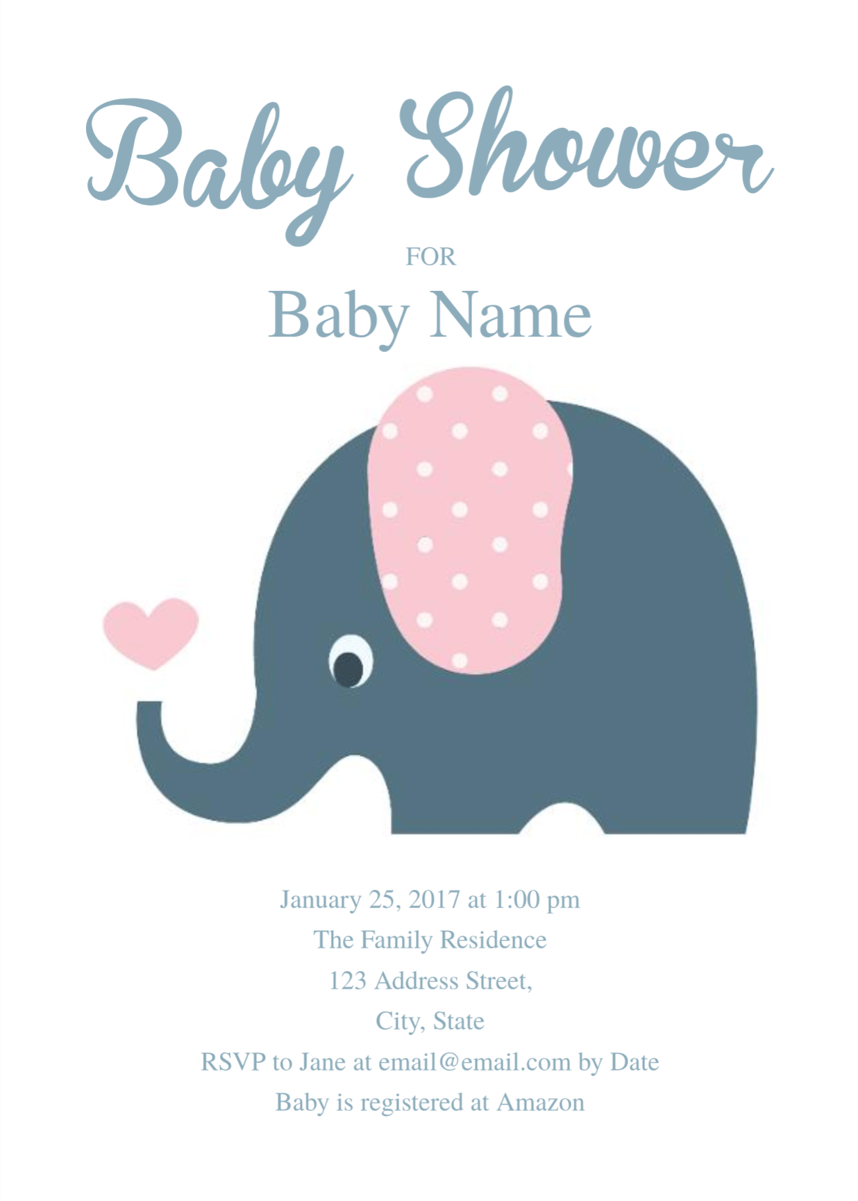 Cute Elephant Baby Shower Invitation Template Free Invitation