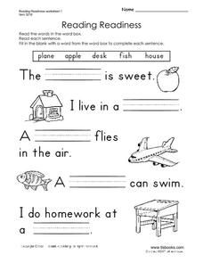 Reading Readiness Worksheet For Pre K 1st Grade With Images