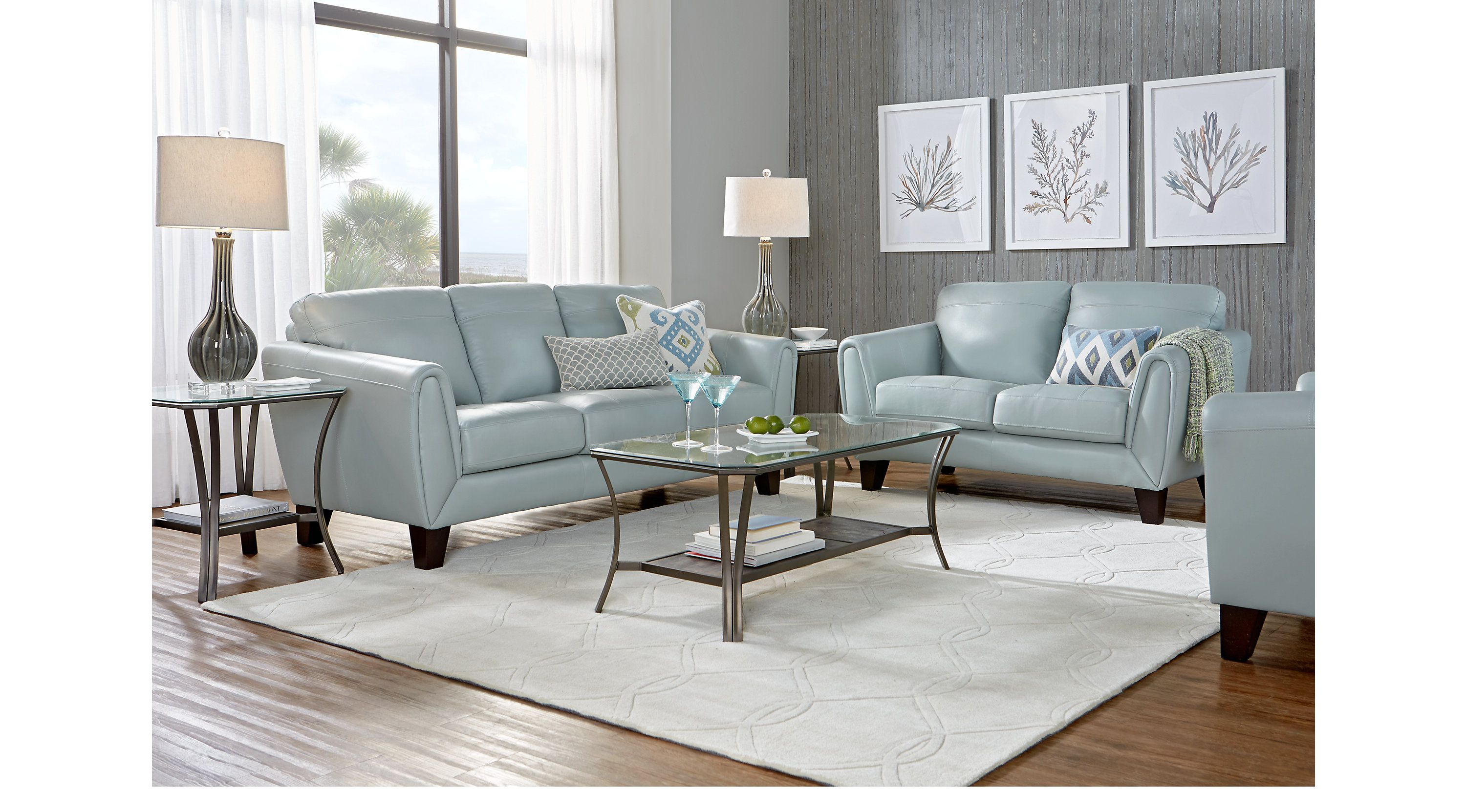 Best Livorno Aqua Leather 3 Pc Living Room Leather Living 400 x 300