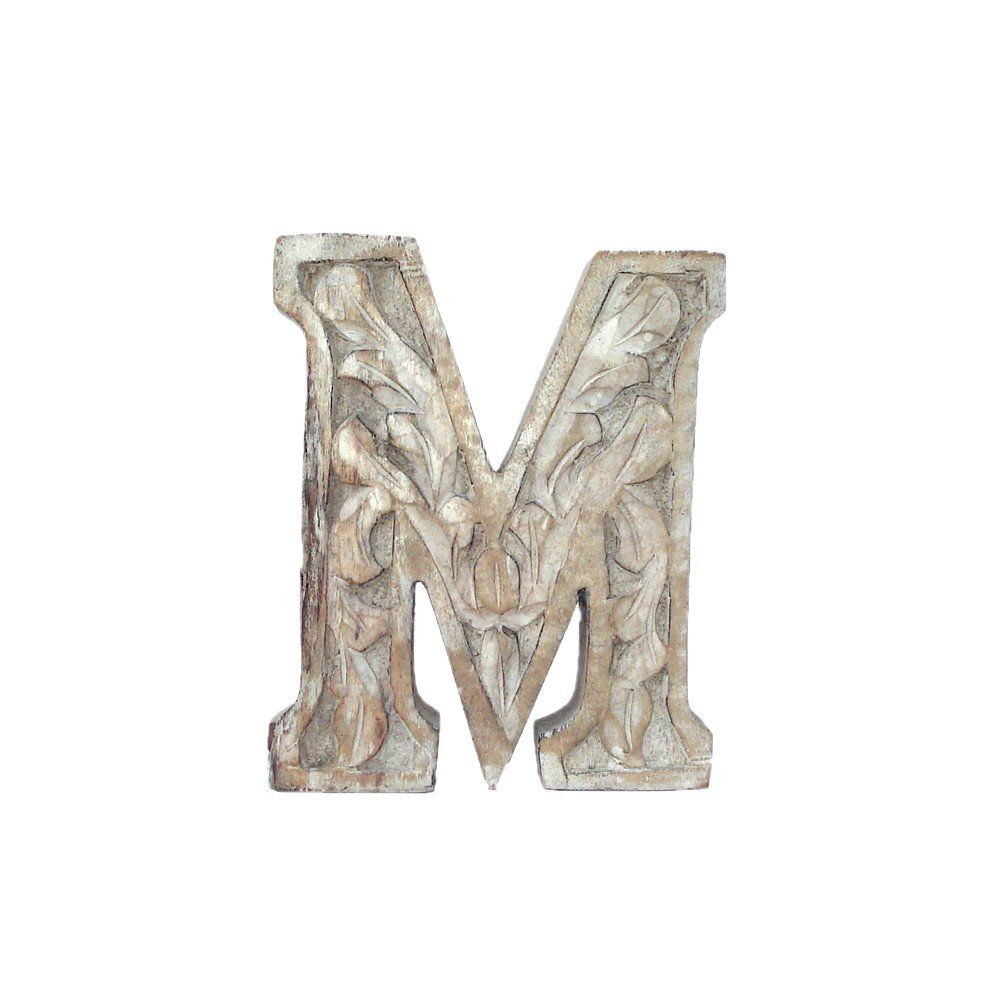 Wooden Carved Letter M White Distress Finish    Woods