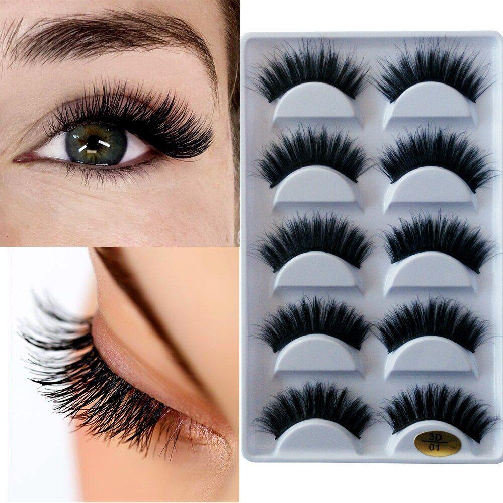 Natural Long Thick Volume 5 Pairs 3D Faux Mink Eyelashes Wholesale Makeup Strip Black 3D False Mink