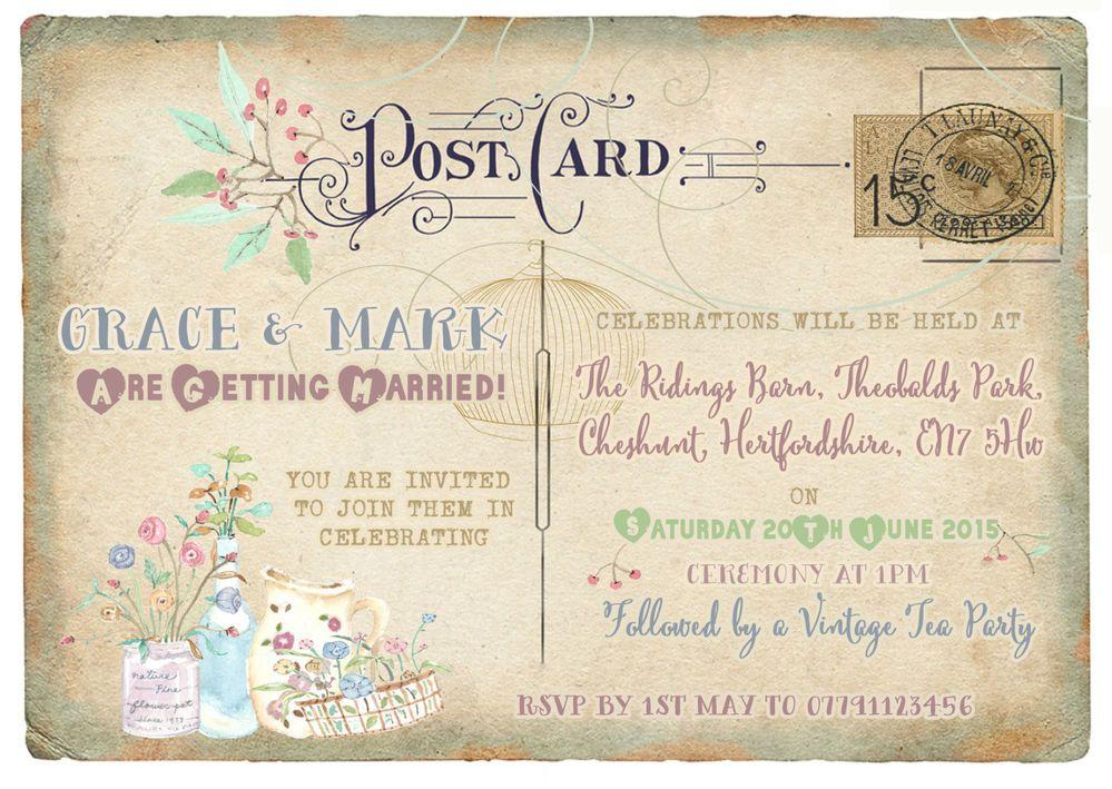 Personalised Vintage Postcard Tea Party/ Birdcage Wedding