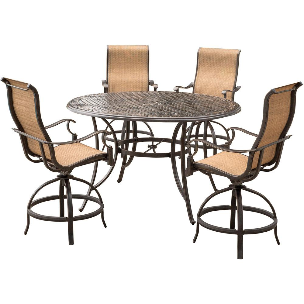 Agio Somerset 5 Piece Aluminum Round Outdoor Bar Height Dining Set With Swivels And Cast Top Table