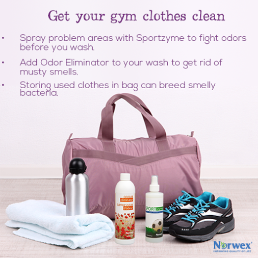 A new year means a chance for a new you! Hitting the gym is a great way to get healthy. Your workout may help you feel awesome, it's probably left your gear smelling anything but that. Spraying problem areas with Sportzyme and adding Odour Eliminator to your wash will help fight odors. Looking to get rid of those embarrassing yellow armpit stains? Try our new Norwex Stain Remover. What are some of your favorite tips for staying fresh at the gym?