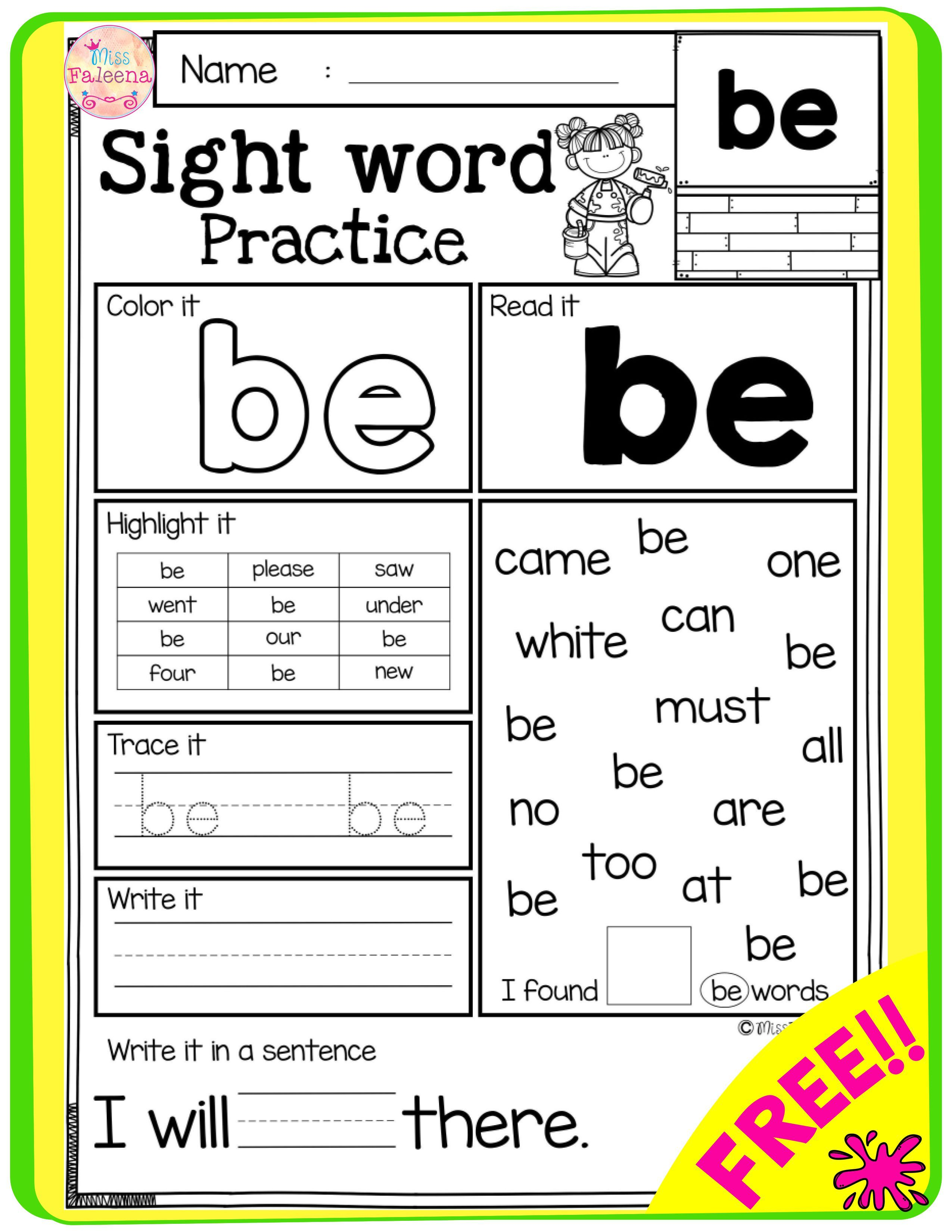 Free Sight Word Practice Sight Word Practice Word Practice Sight Words