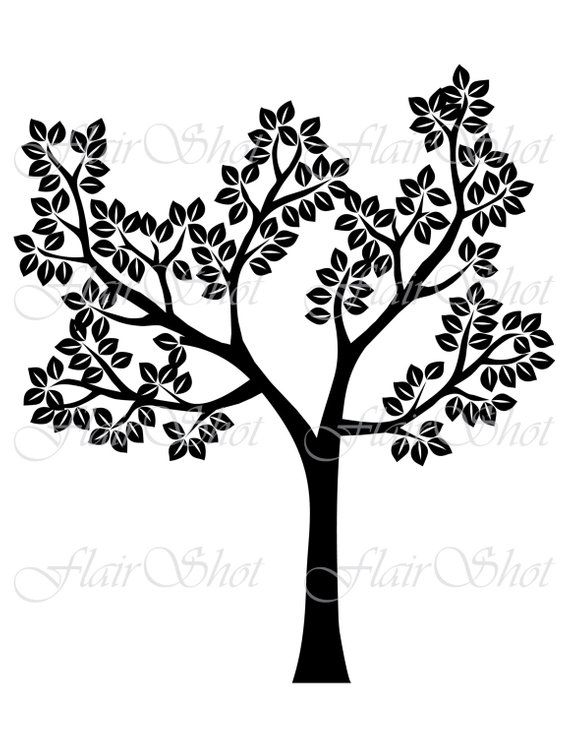 Digital Tree Clip Art Silhouette Tree Clipart Black Leaves Clipart