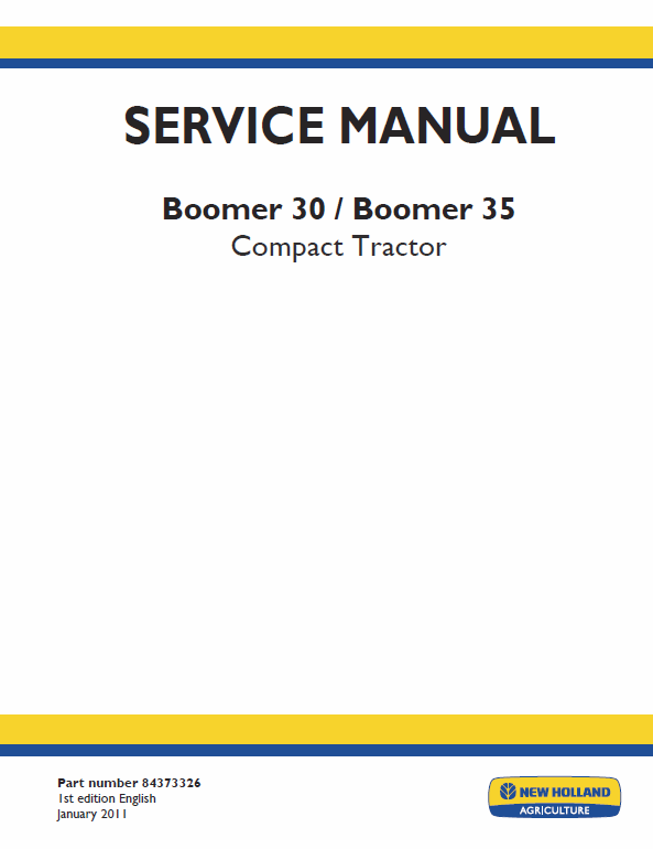 New Holland Boomer 30 And Boomer 35 Tractor Service Manual New Holland Boomer New Holland Tractors