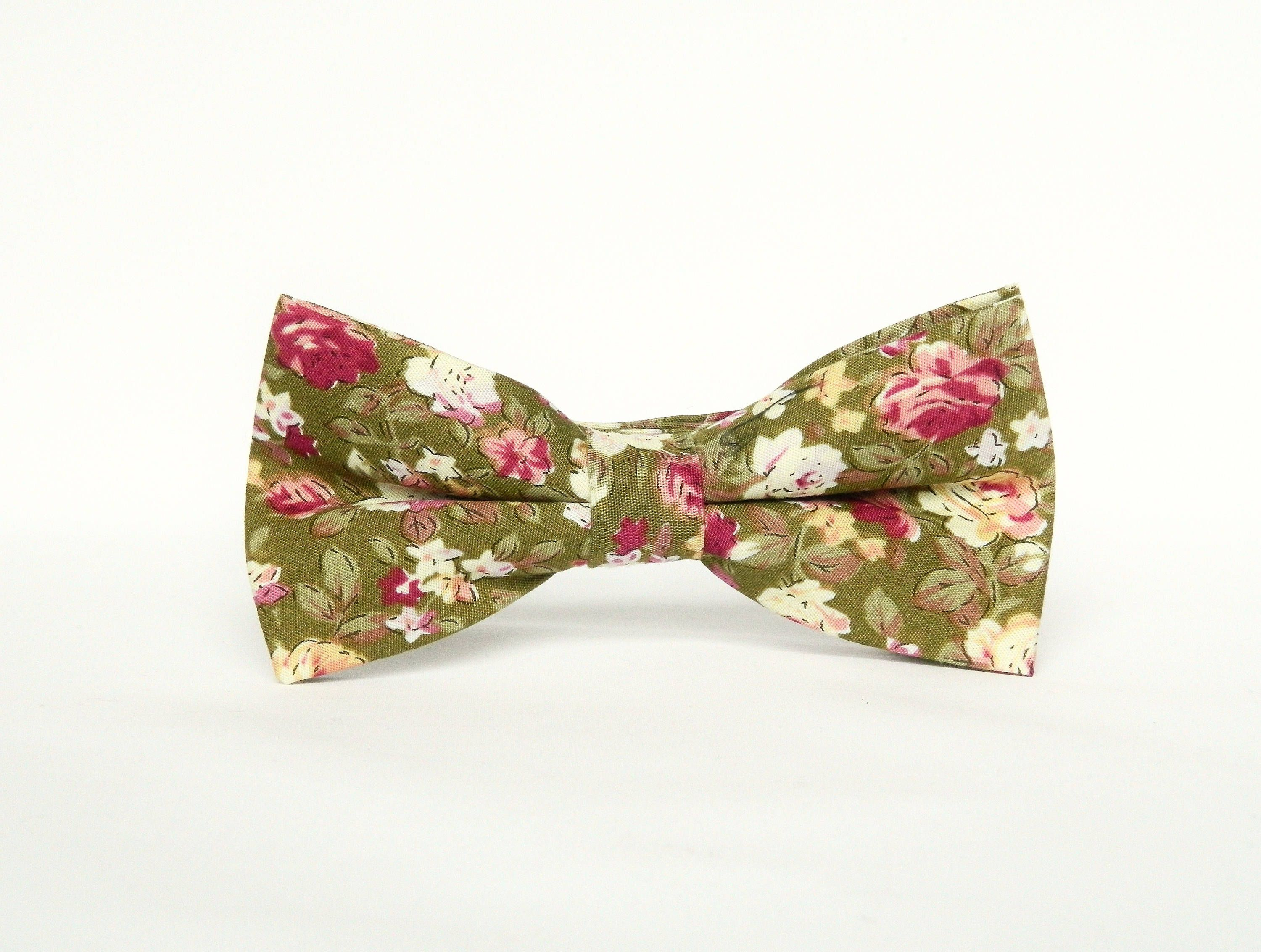 Floral green bow tie Pretied wedding floral green bow tie