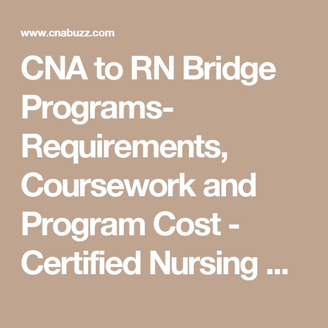 CNA to RN Bridge Programs- Requirements, Coursework and Program Cost ...