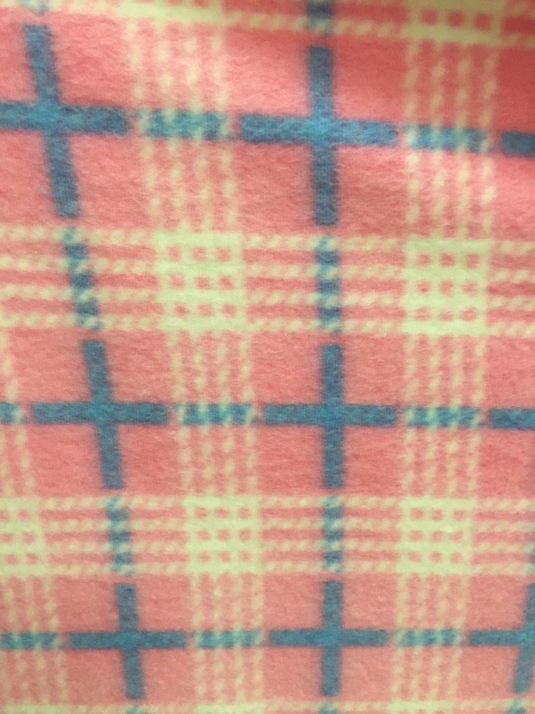 Plaid print polar fleece fabric dusty pink by the yard products