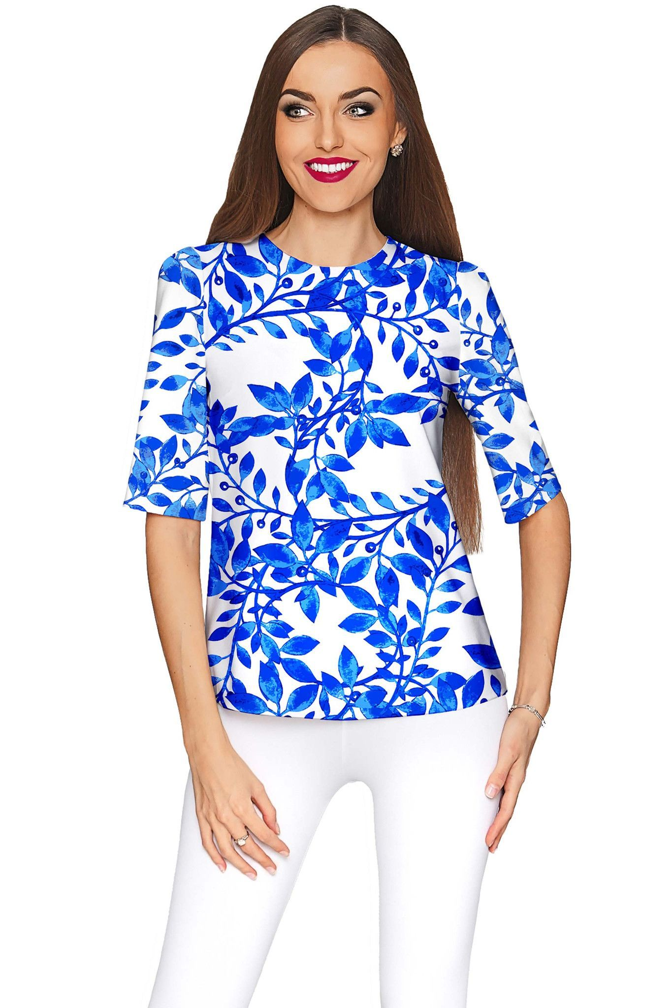 976f465d948 Whimsy Sophia White Blue Print Sleeved Party Top - Women | Products ...