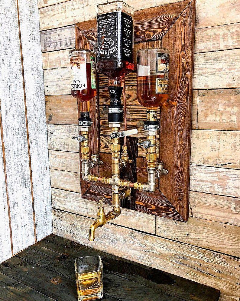 Liquor Alcohol Whiskey Wood & Brass Dispenser, Whi