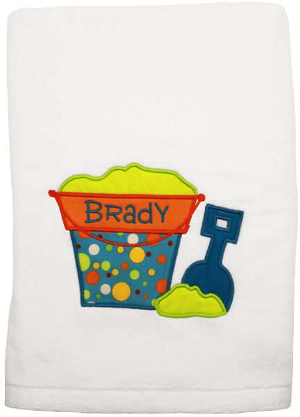 Personalized Beach Towel - A child's first name is stitched onto this towel with a colorful beachy applique design! Girl version also available at Script and Scribble.