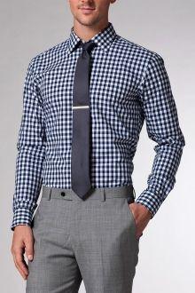 Navy Gingham Shirt | Maglie e Magliette in tessuto a quadretti blu