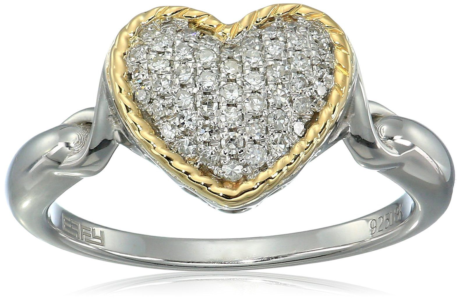925 Sterling Silver Heart Ring Taille 7