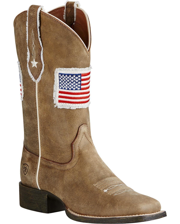 c12d01bca6d Ariat Women's Sand Patriot Flag Cowgirl Boot - Square Toe - 10019908 ...