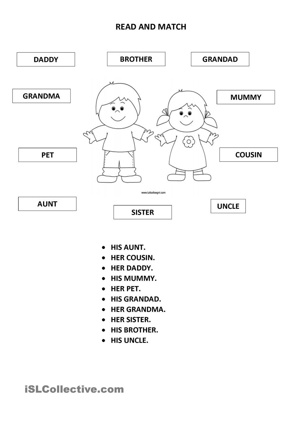 His her 2 family members family pinterest comprehension family members worksheet free esl printable worksheets made by teachers kristyandbryce Images