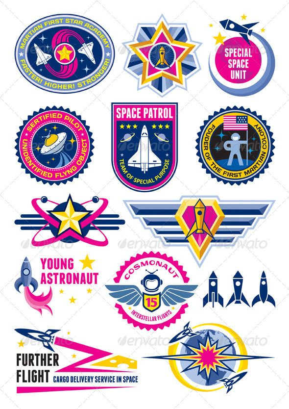 Space Badges & Labels jpg image saturn logotype