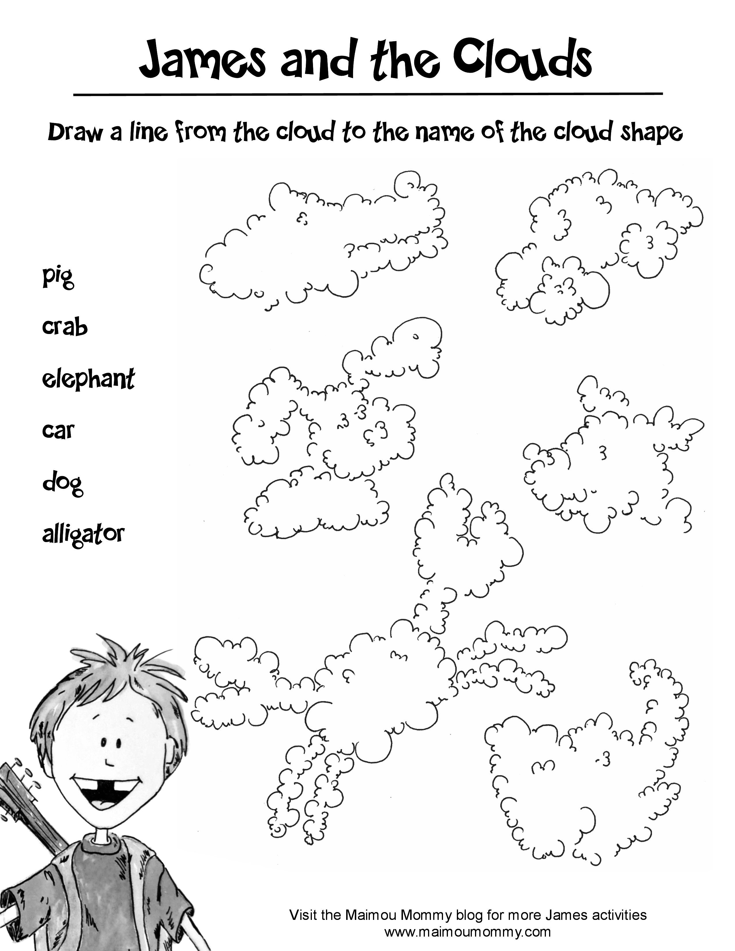 James And The Clouds Worksheet Cloud Finder