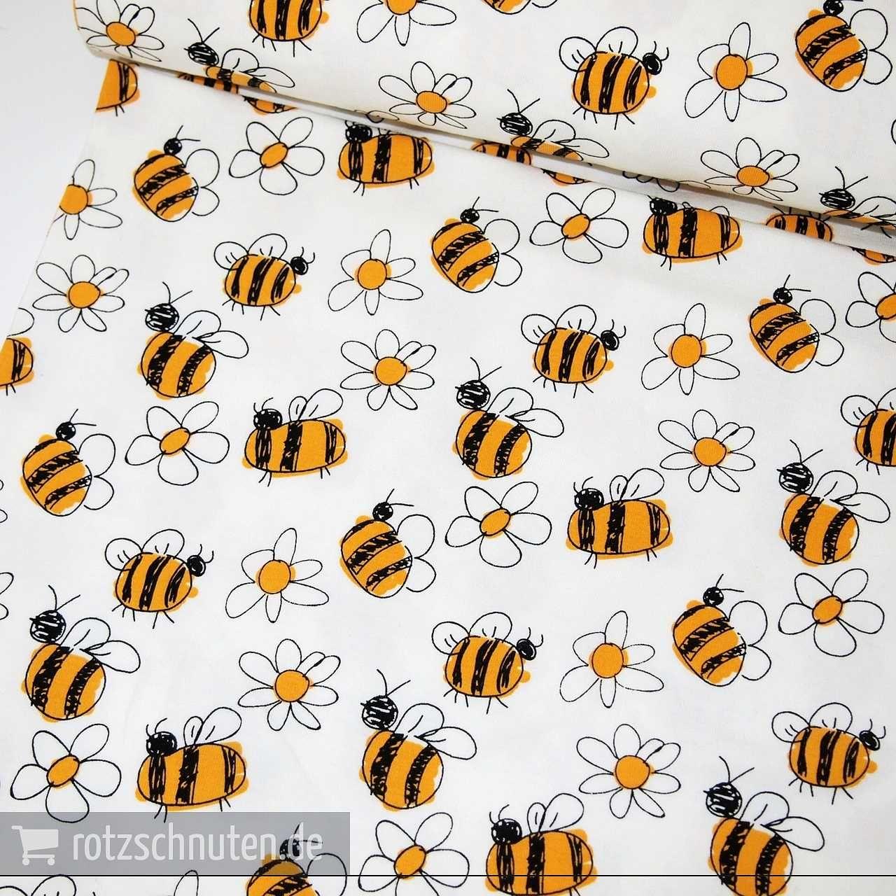 Baumwolljersey BEE – Bienen & Blumen | Pinterest | Bienen, Hände ...