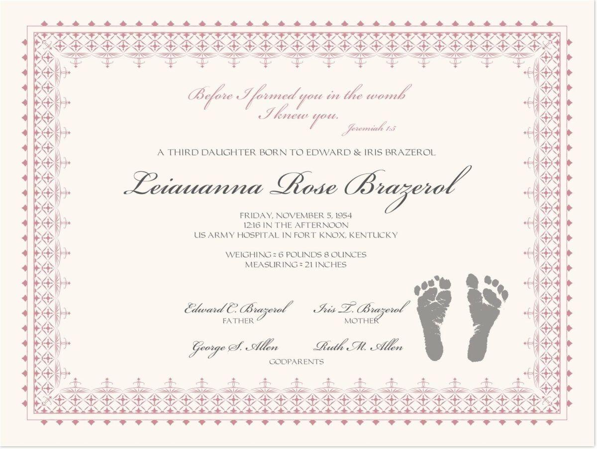 Footprints Baby Certificates Birth Certificate Template In Birth Certificate Te Baby Dedication Certificate Birth Certificate Template Fake Birth Certificate Birth certificate template with footprints