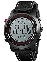 a4b12d8f1b00 Hombres al Aire Libre PU Correa de Cuero Acero Inoxidable Dial montañero Reloj  Deportivo Relojes Digitales
