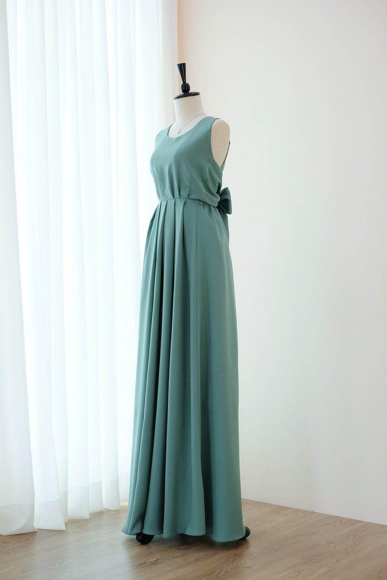 Dunkle Salbei grün Kleid lange Brautjungfer Kleid Brautkleid lange