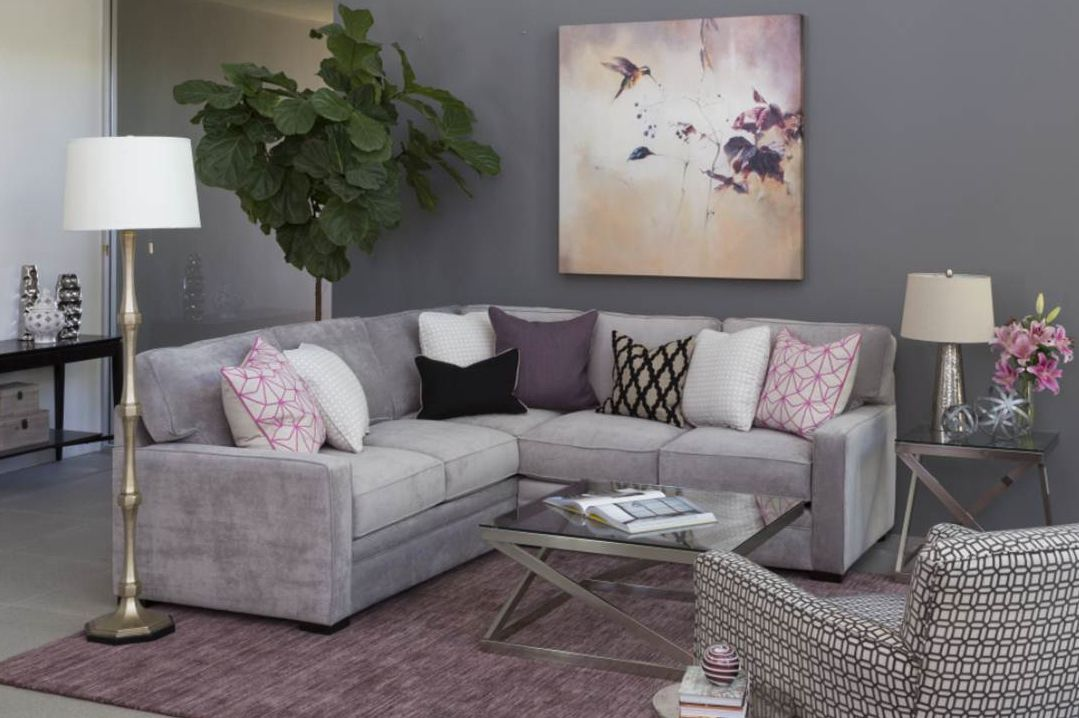 We 39 re inspired by the purple and grey color combo in this Grey and purple living room
