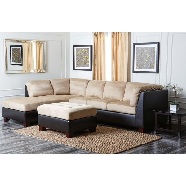 ABBYSON LIVING Charlotte Beige Sectional Sofa and Ottoman ...