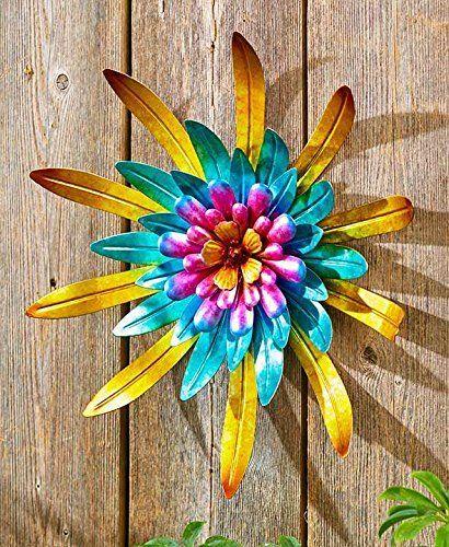 Metal Outdoor Wall Art Metallic Garden Flowers Gold Metal Flower