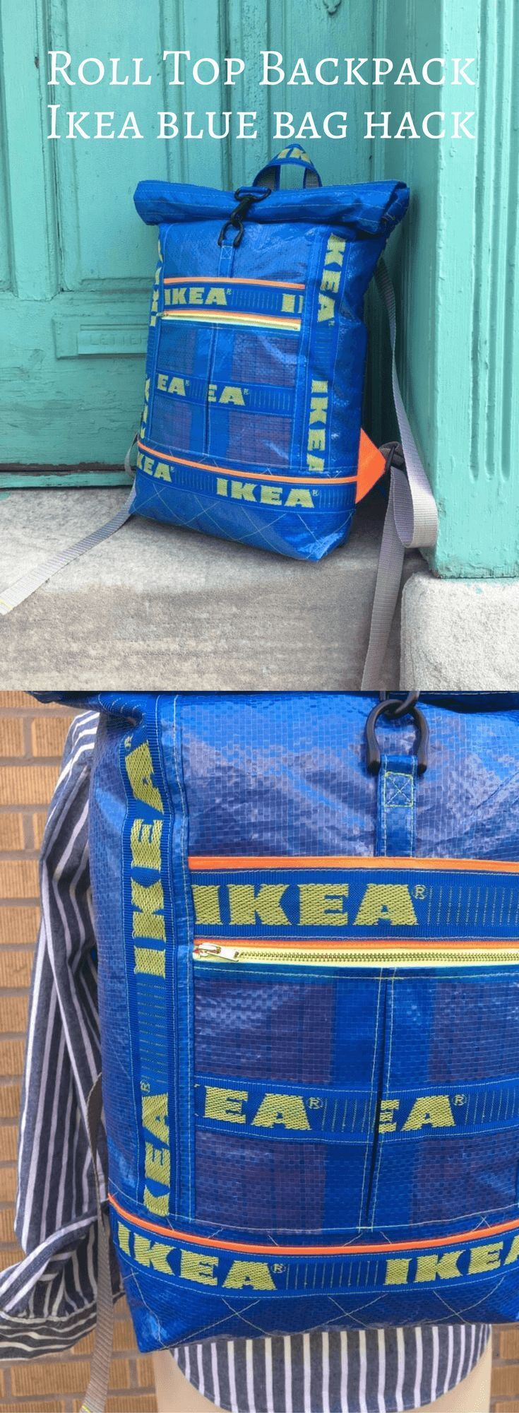 Gut nähen! Ein Roll-Top-Rucksack von IKEA Blue Bags www.ikeahackers.n … - UPCYCLING IDEEN #ikeaideen