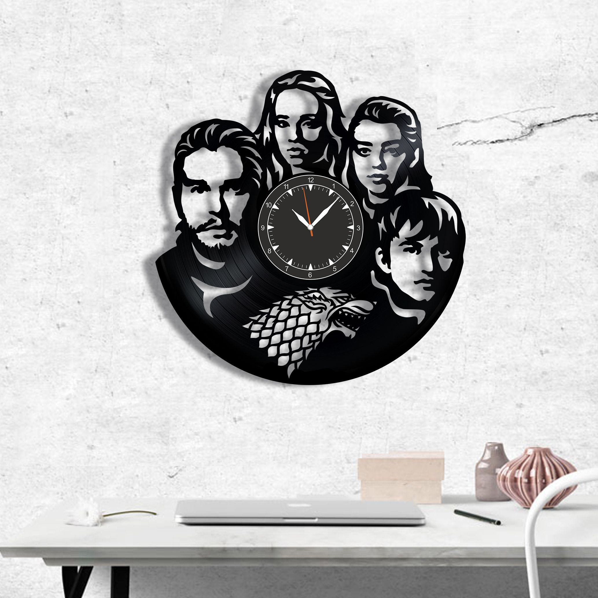 Game of Thrones vinyl record clock, wall clock Game of