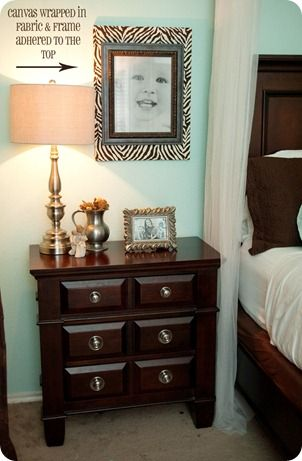 Take a 16x20 canvas and wrap it in fabric {cut it to size, wrap the ...