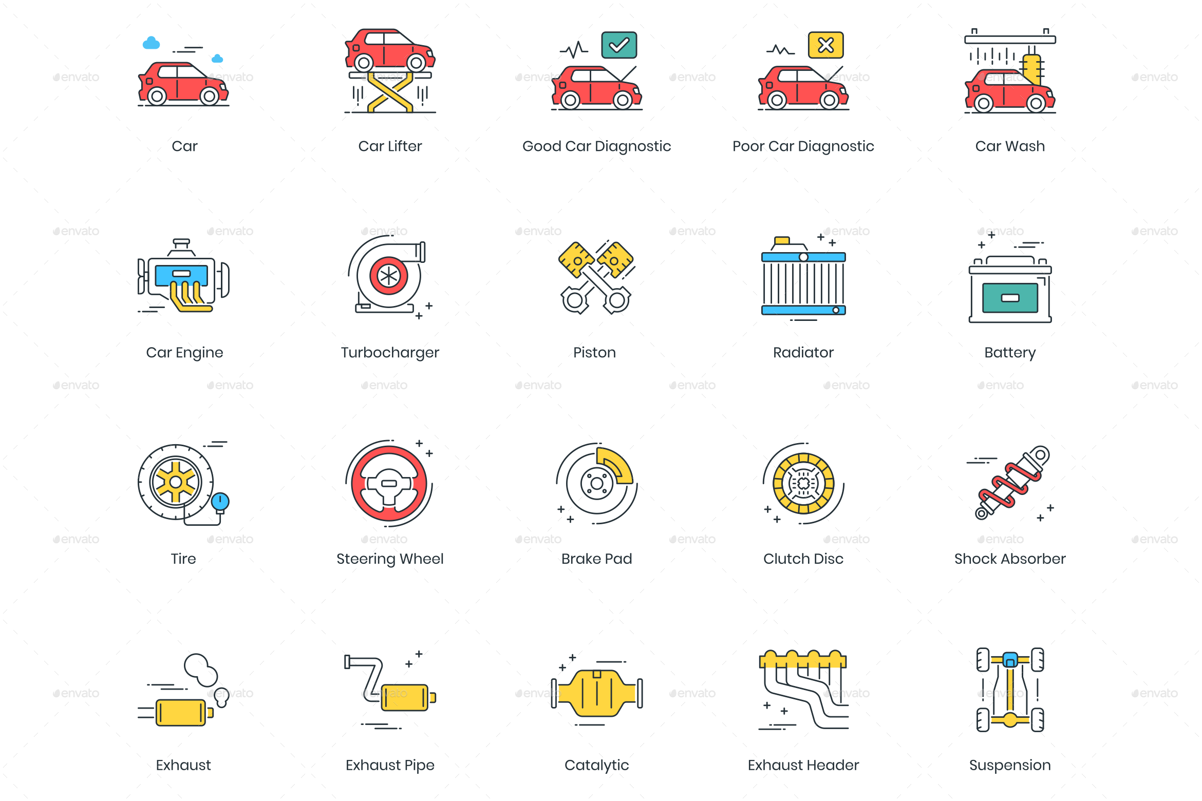 Car Service Icons Preview Graphicriver Paint Repair Car Engine Icon