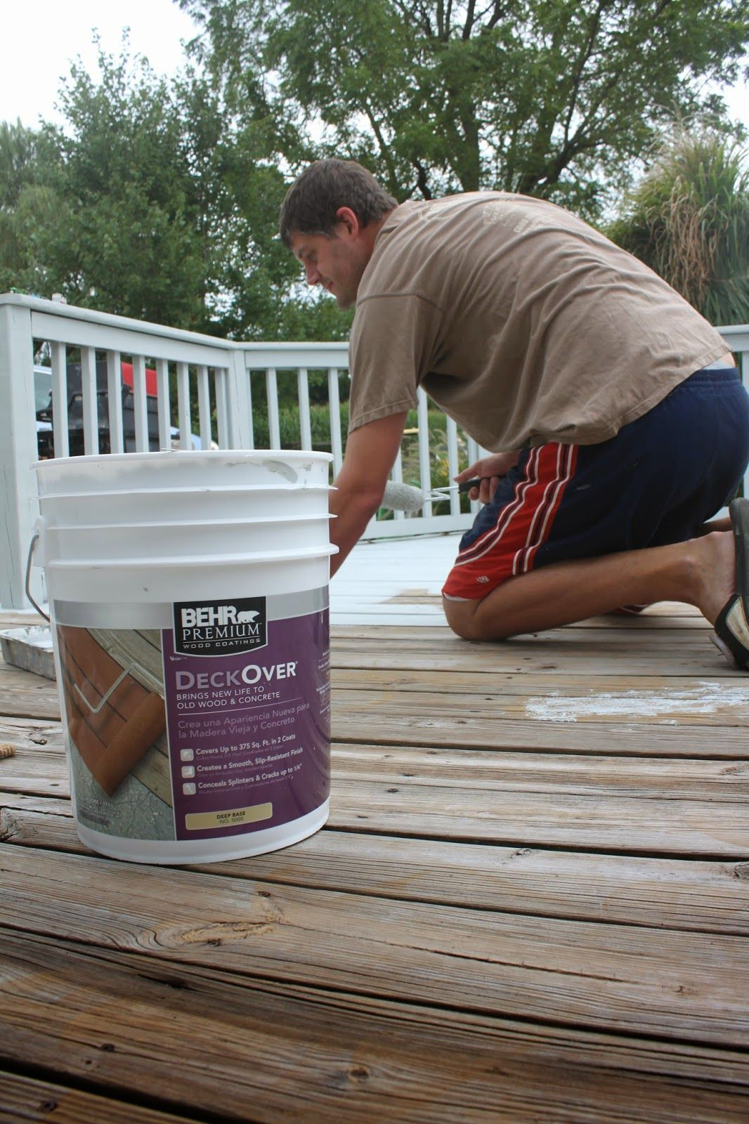 Our Deck Makeover With Behr Deckover In Cape Cod Gray