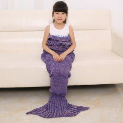 Chic Quality Comfortable Falbala Decor Knitted Mermaid Design Throw Blanket (WATER BLUE) | Sammydress.com Mobile