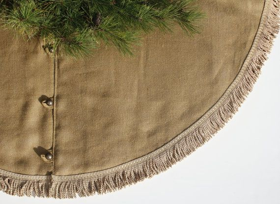 Christmas Tree Skirt Dark Burlap with Rich by LittleOrangeRoom, $175.00