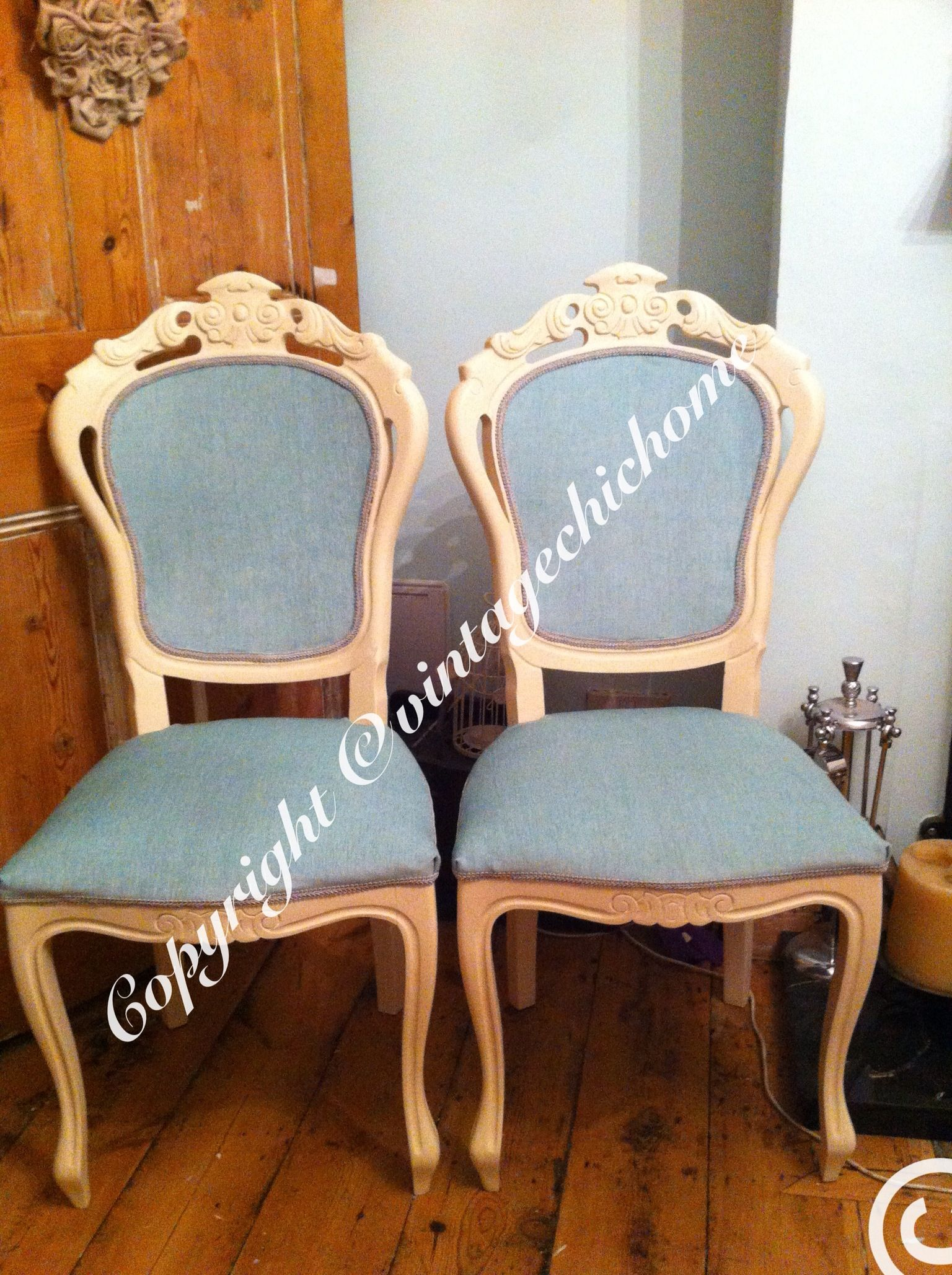 Shabby chic pair of ornate carved back , duckegg blue and painted ...