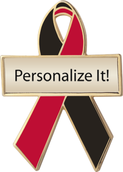 Black And Red Awareness Ribbons Personalized Awareness Pins No Minimums Personalized Cause Awareness Ribbons Black Awareness Pink Awareness