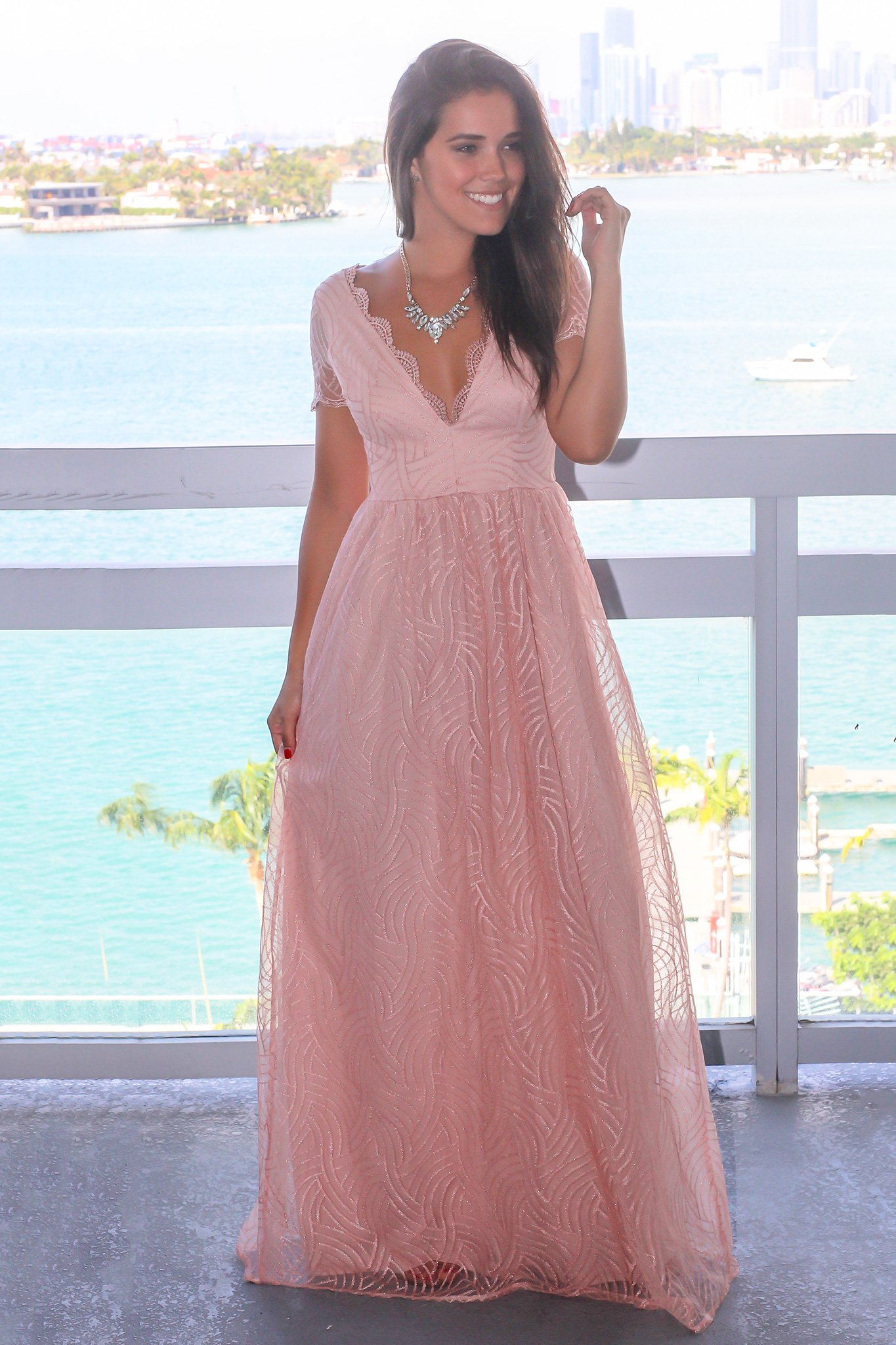 Blush vneck maxi dress with short sleeves short maxi