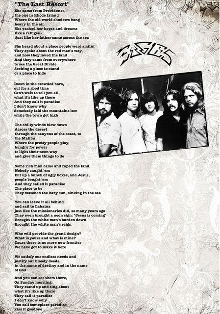 The Last Resort Eagles Print Eagles Songs Eagles Music Eagles Songs Lyrics